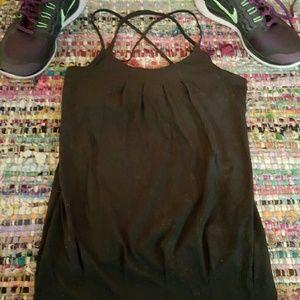 Lululemon Workout Black Bra Shelf Straps Size 2